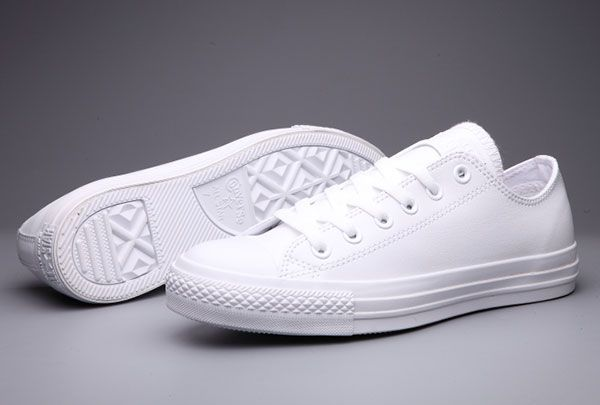 All white (completely all white) converse all-star chuck taylor's, low cut, size 8 US women's
