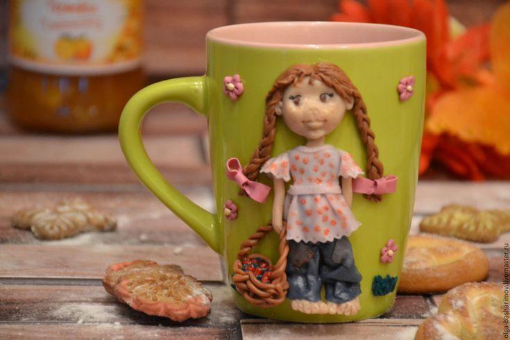 """Купить Кружка с декором """"Маленькая дачница"""" - зеленый, полимерная глина, подарок, подарок девушке"""