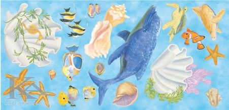 Picturi murale cu pesti si scoici, in stil copii, de culori alb, albastru, galben, roz si verde.  #decorbaie  http://www.ka-international.ro/tapet.html