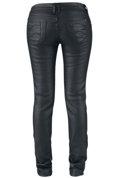 Jeans attillati con effetto pelle.