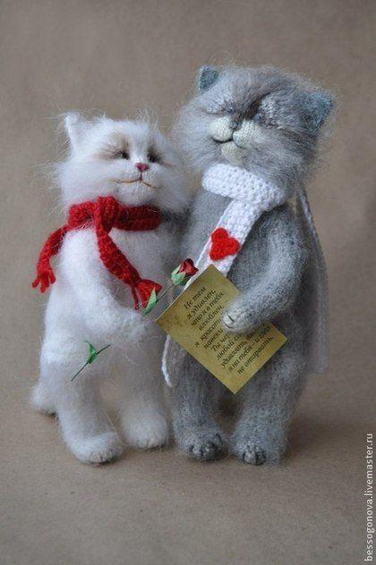 ВЛЮБЛЕННЫЕ коты Вязаная игрушка - белый,кот,котик,коты и кошки,котенок