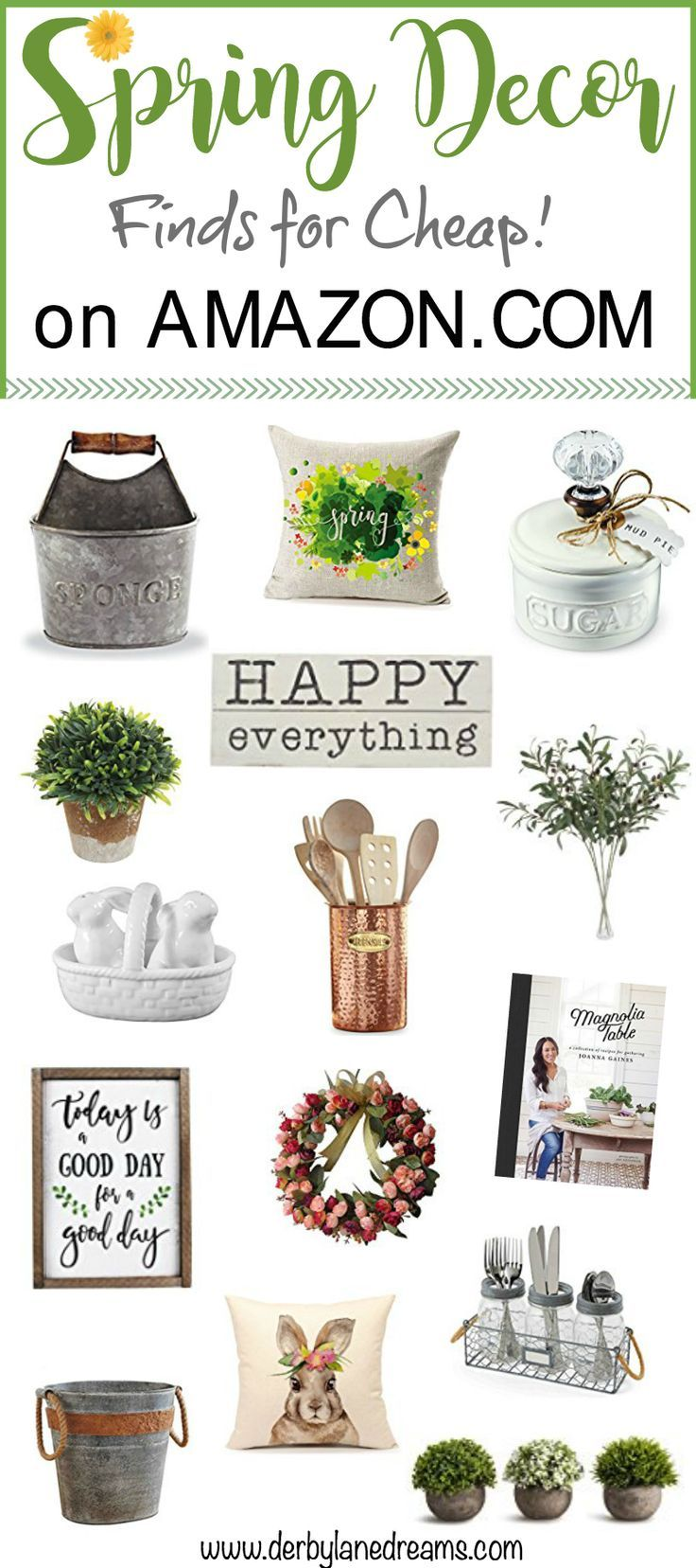 Spring decor and Easter decor ideas on a budget. Cheap, affordable decor for your apartment, for renters, and anyone. Rustic, Farmhouse, vintage, and country style. Lots of great, affordable decor options on Amazon.com. #spring #easter #ad #decor #ideas #love #interiordesign #DIY #rustic #farmhouse #cheap #sale