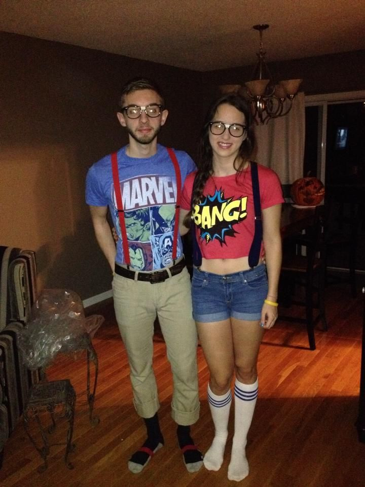 DIY comic book nerd costumes, suspenders, nerd shirts and some taped up glasses :)