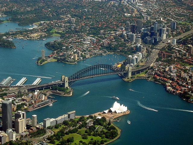 Sydney Harbour, Bridge and Opera House, via Flickr.