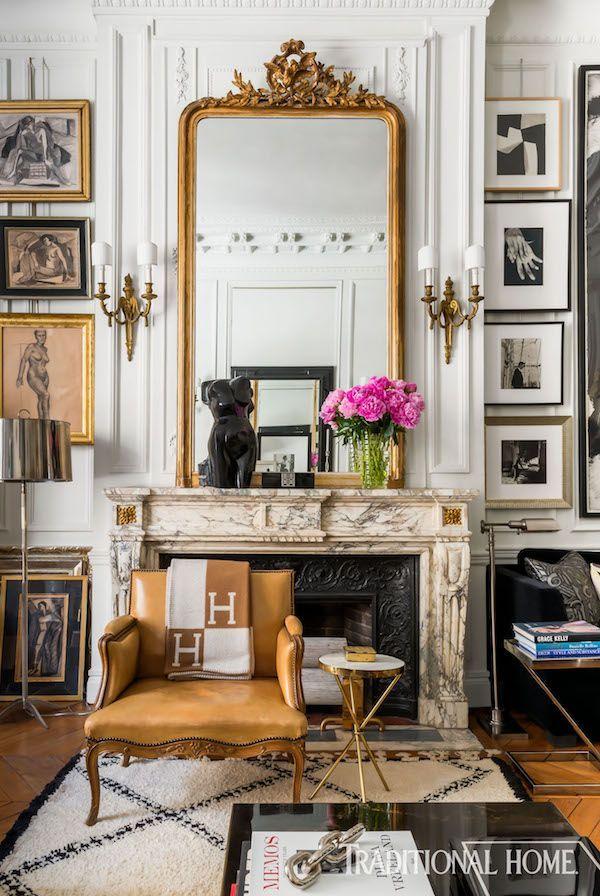 Parisian Home Decor Inspiration Vintage Mirror Over Pre War Fireplace Mirror In Parisian Apartment With Art Arrang Parisian Home Decor Apartment Decor Interior