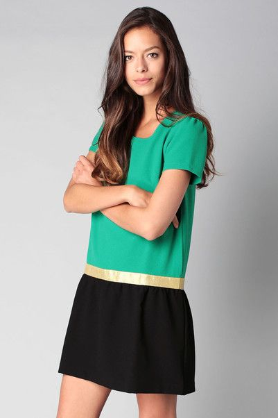 Robe verte liseré doré Cameliabis Emeraude / Or / Noir Clo&Se by MonShowroom en promotion sur MonShowroom.com
