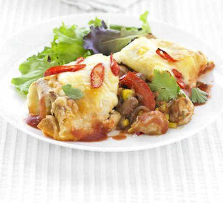 Chicken & bean enchiladas