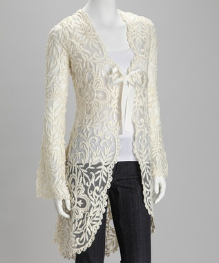 I so love this!  Want!Asymmetrical Duster, Celine Ivory, Ivory Lace, Fabulous Fashion, Love Lace, Duster Beautiful, Kay Celine, Lace Duster, Lace Asymmetrical