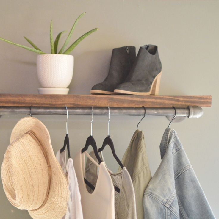 """Clothing Display Rack With Wood Shelf Pictured: - 12"""" D x 30"""" L, Shelf 1.5"""" x 10""""D - Black Steel Pipe - Protective coating"""