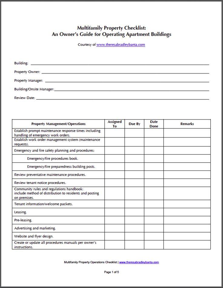 Apartment Building Maintenance Checklist Related Keywords - apartment rent receipt