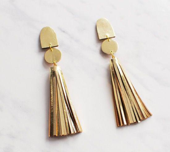 Gold Leather Tassel Earrings