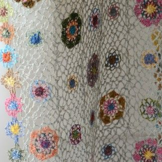 "Grande écharpe Sophie Digard - crochetée main - 100 % lin - ""mille fiori"""