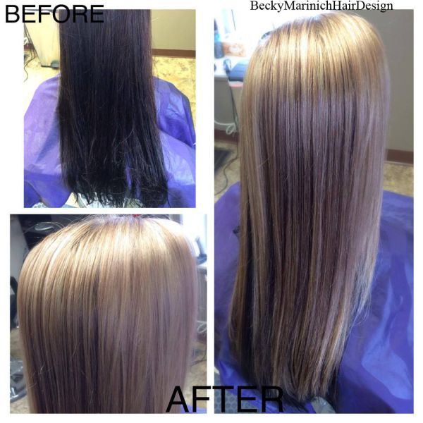 Before And After Full Highlights On Hair That Had Previously Been