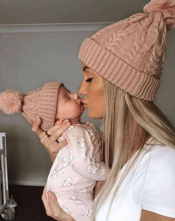 Soft Knit Dad Mom /& Baby Child Matching Knitted Hat Warm Winter Kids Beanie