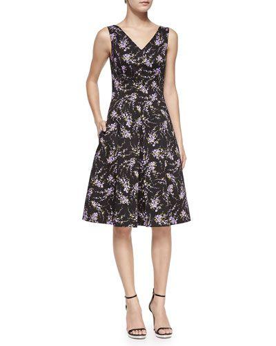 B2TRB Michael Kors V-Neck Floral Stretch-Cotton Dance Dress