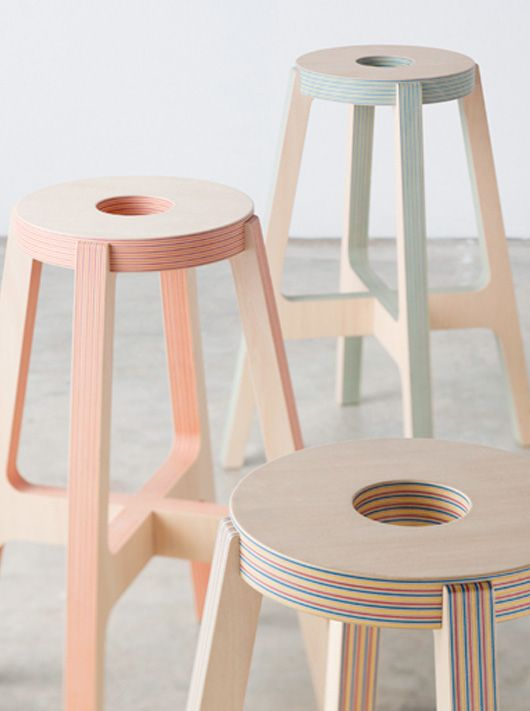 Paper-Wood stools - Drill Design from Japan specialise in product design. Their latest project has given rise to a new material they call Paper-Wood which is composed of wood veneer and colourful sheets of recycled paper.