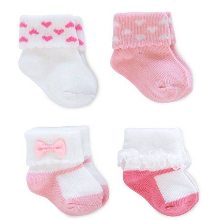 Child of Mine by Carter's Newborn Baby Girl 4 Pack Cuff Mary Jane Socks, 0-3M, Size: 0 - 3 Months, Assorted