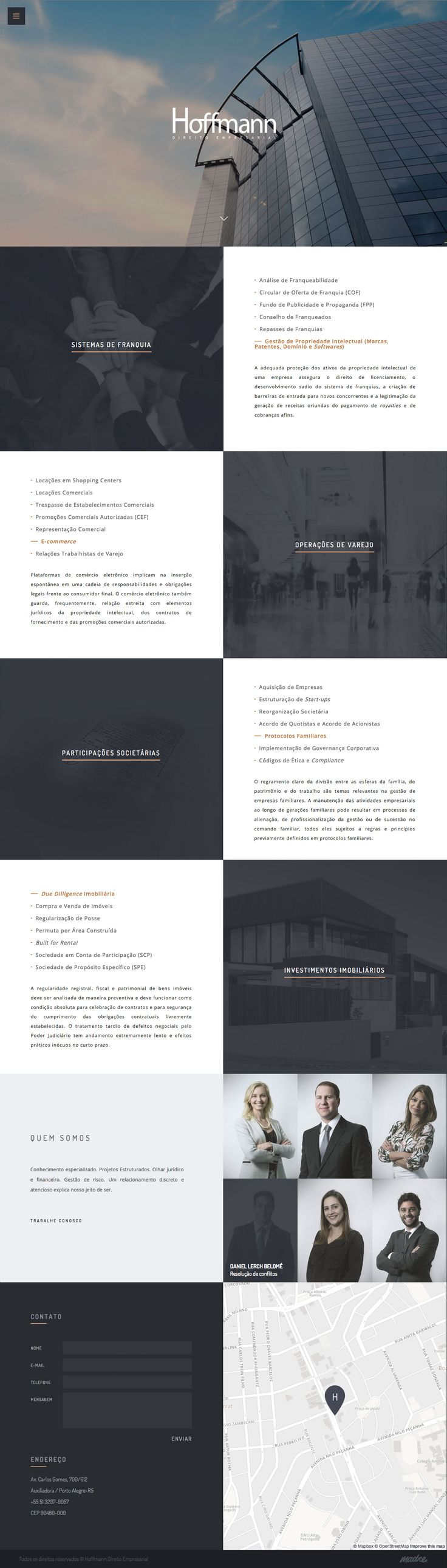 """Stylish One Pager for Brazilian law firm, 'Hoffmann' featuring a good responsive design that fills a big screen well. Love the Hero image choice and overall color scheme - I hadn't seen a """"corporate"""" One Pager in ages and this one really is slick."""