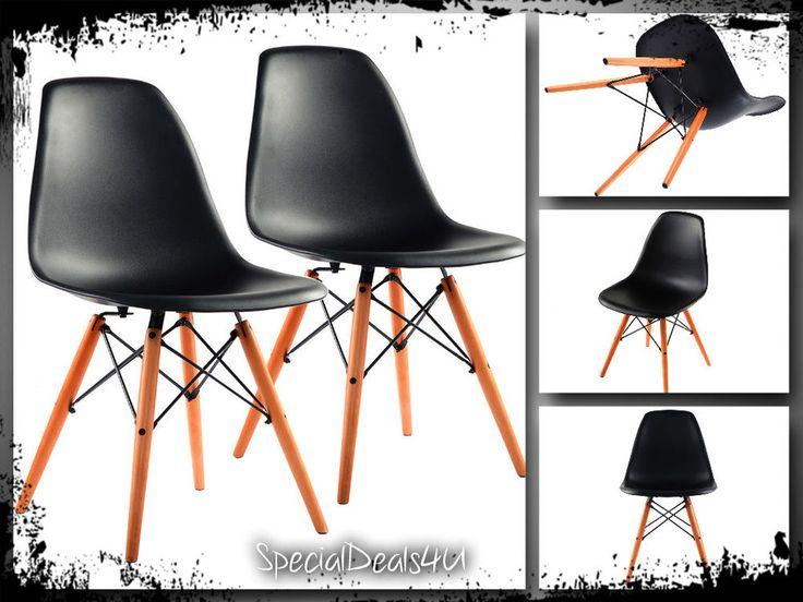 Modern Wood Chair Vintage Dining Living Room Kitchen ABS Black Side Eames 2Pcs #SpecialDeals4U #MidCenturyVintageModern