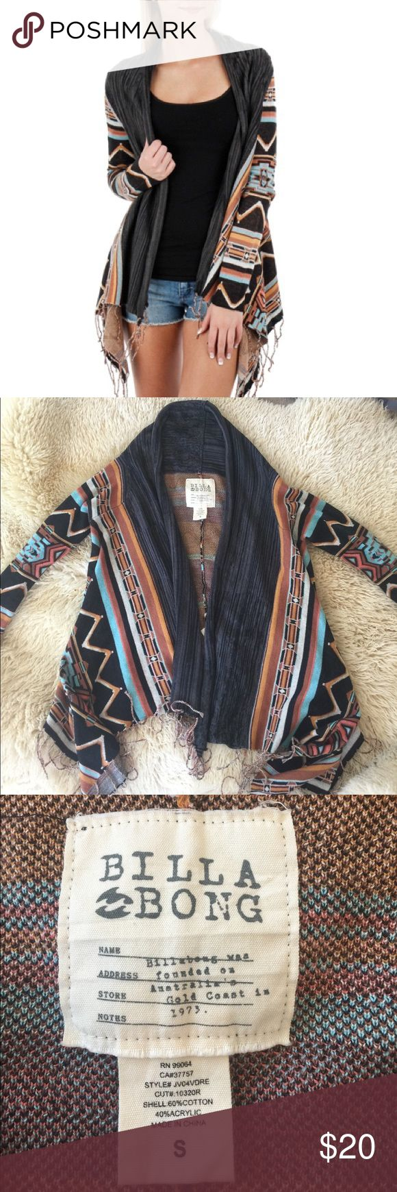 Billabong Dream Chaser Cardigan Tribal Print NWOT Billabong fringe wrap long sleeve, size small sweater, brown colorway with multicolor tribal print stripes throughout. Knit construction with fringe detaling at bottom hem. Has a handkerchief hemline, with flattering loose, draped fit. Small Billabong logo tag at back. 60% cotton, 40% acrylic. Size Small. Billabong Sweaters Cardigans