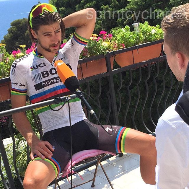 """Peter Sagan spoke for the first time after the disqualification from the TDFand gave an interview with German TV ZDF the worldchampion says. """"I can accept the fact that I'm excluded from the Tour, but I can not accept the decision of the Jury. Because it was a big mistake@ @bettiniphoto"""