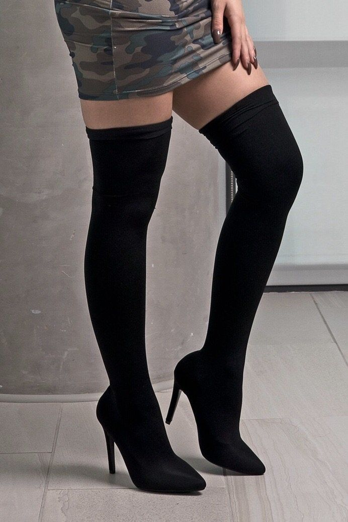 283198fccc47 EDITOR S NOTES   DETAILS - Black stocking stretchy boots - Pointy toe - Thigh  high - 4.5 inch heel - Runs true to size