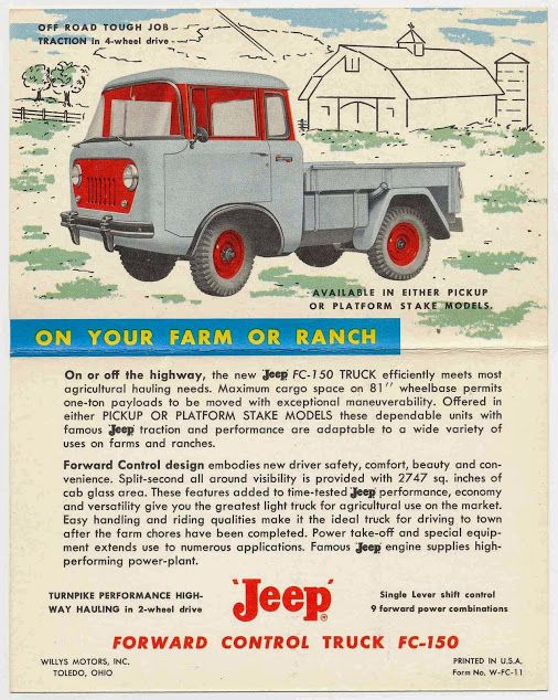 ON YOUR FARM OR RANCH - vintage 'Jeep' FC-150 postcard.  I love the color combo on this truck!  #vintagepostcards   #jeepfc   #vintageads   #vintageadvertisement   #willysjeep