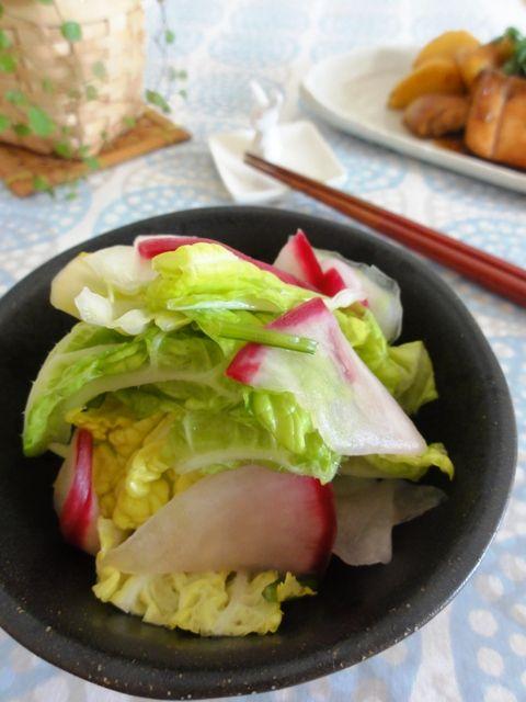 白菜と赤カブの浅漬けサラダ。   美肌レシピ