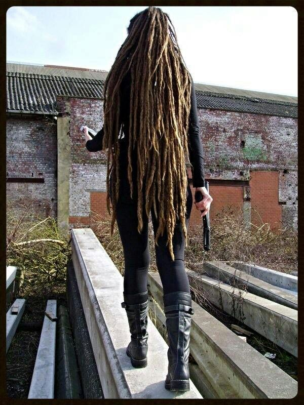That's what I'm working on! -- really looooong #Dreadlocks and I like the boots