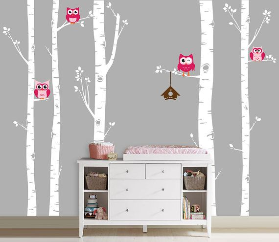 Owls and Birch Tree Forest Wall Decal, Birch trees, Birch forest, Birch Tree Owl Wall Vinyl for Nursery, Kids or Childrens Room. $68.00