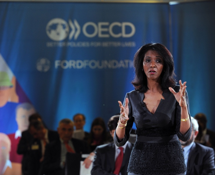 3 April 2013 - Zeinab Badawi, Presenter, World News Today, BBC, speakig at the OECD Workshop on Inclusive Growth for Shared Prosperity. OECD Conference Centre, Paris, France. For more information, visit: www.oecd.org/inclusive-growth/workshop.htm Photo: OECD/Michael Dean