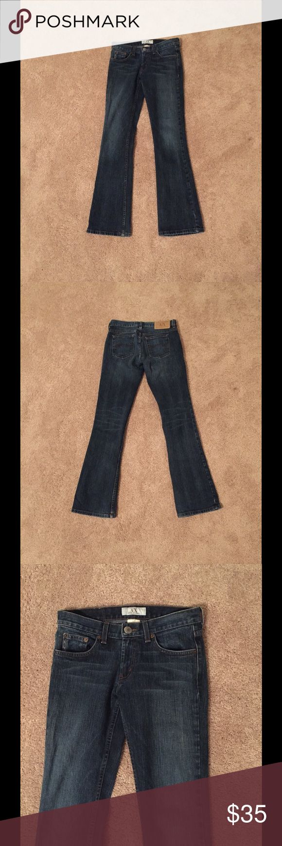 A/X Armani Exchange Helix Bootcut Jean Zip fly with button closure, 5-pocket, stone washed. Made in USA. 98% cotton, 2% Lycra. Machine wash cold. SIZE IS 0 SHORT. A/X Armani Exchange Jeans Boot Cut