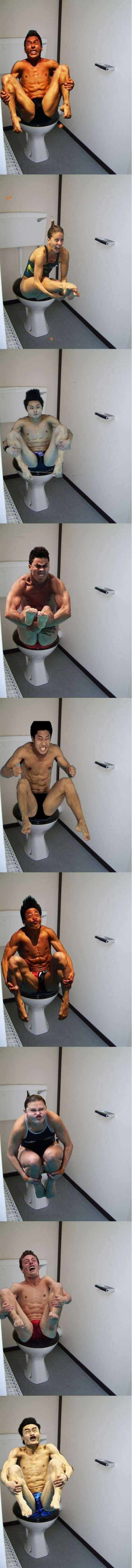 Olympic divers photoshopped on to toilets.  Dying of laughter oh my gosh...