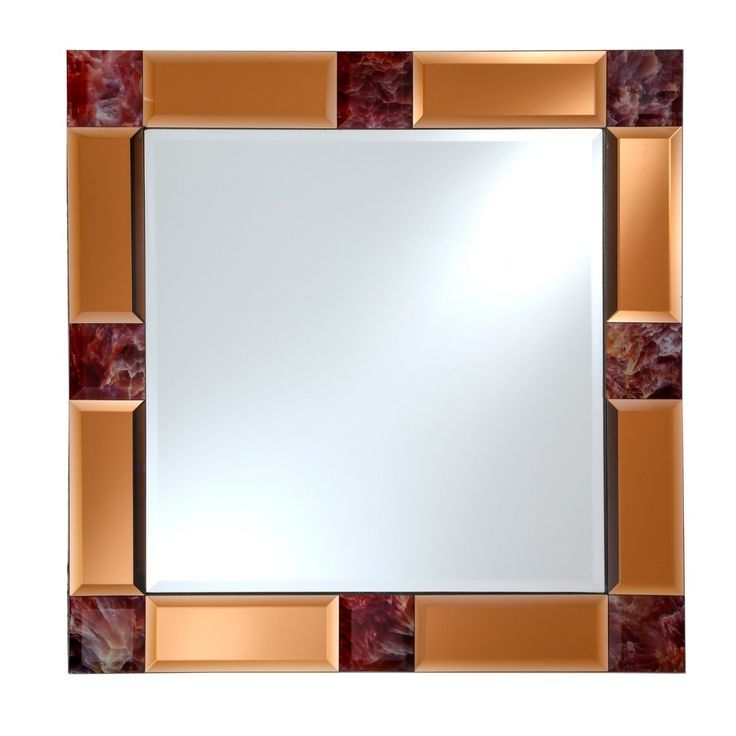 """Square Beveled Frameless Wall Mirror with Mirrored Tinted Beveled Border and Marble Accents Copper (Brown) 24"""" X 24"""" - Breeze Point"""