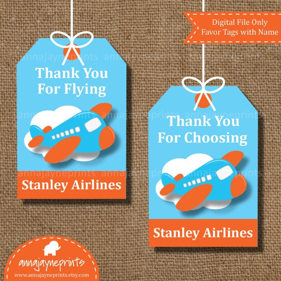 Airplane Birthday Party Favor Tags: 17 Best Images About Birthday Party Ideas €� Airplanes On