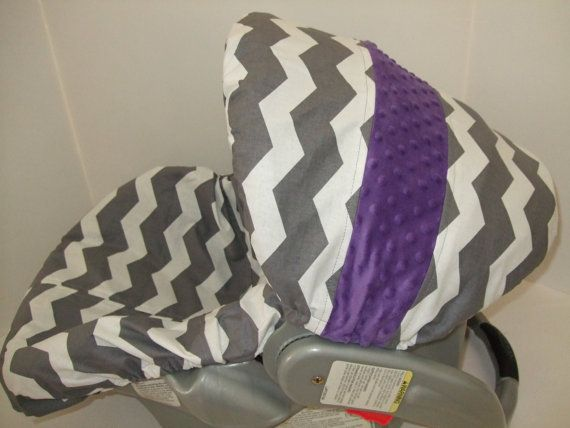 Gray and white chevron print/purple minky dots color canopy accent infant car seat slip cover set on Etsy, $39.99