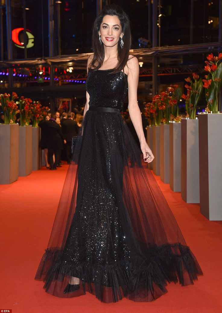 Amal Clooney in a Saint Laurent gown at the 'Hail, Caesar!' premiere during Berlin Film Festival on February 11, 2016