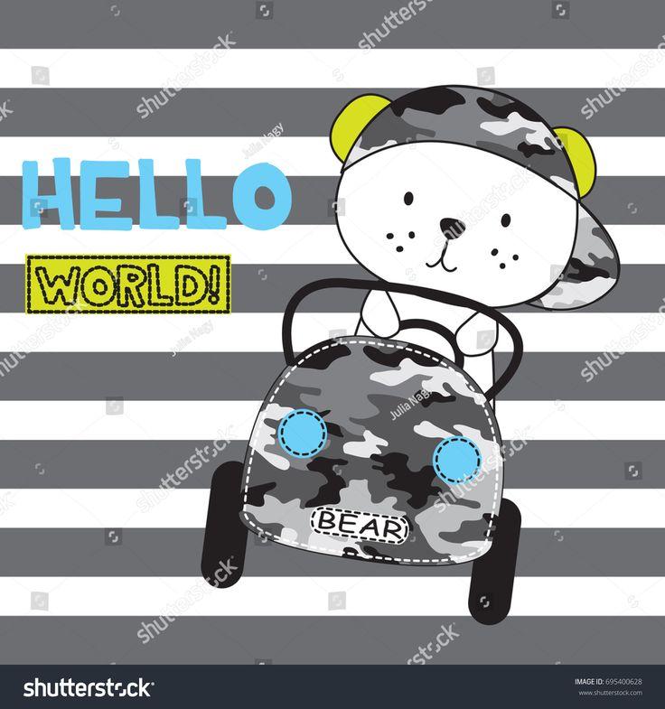 cute teddy bear by car on striped background, teddy bear cartoon vector illustration