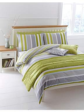 Lime Stripe double duvet cover set