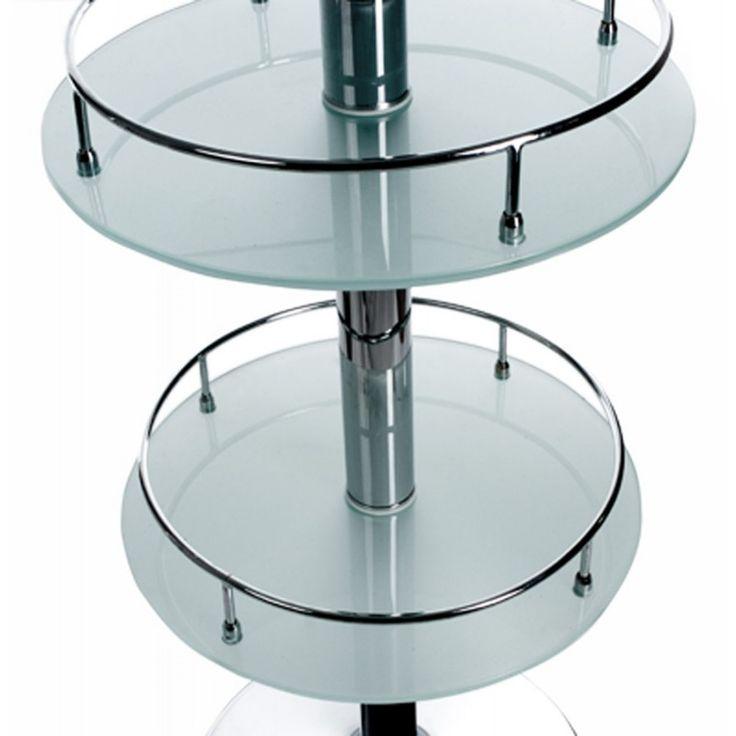 Les tablettes du Meuble bar design BORA BORA en verre et métal chromé (transparent) apporteront un espace de rangement non négligeable.