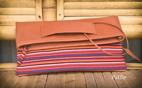 Wanda Clutch in tan colour leather and lurik