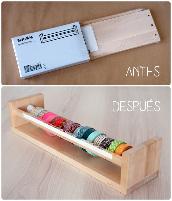 x4duros.com:  El dispensador de washi tape está realizado con el estante especiero BEKVÄM de Ikea.