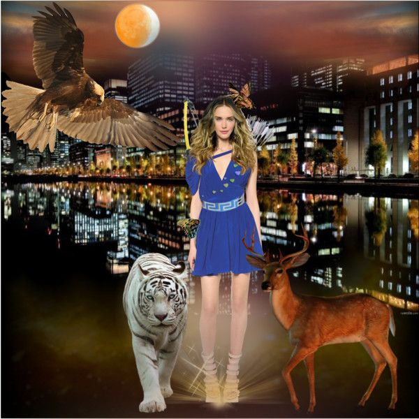 Artemis - Protector of the Animals by merymez on Polyvore featuring art
