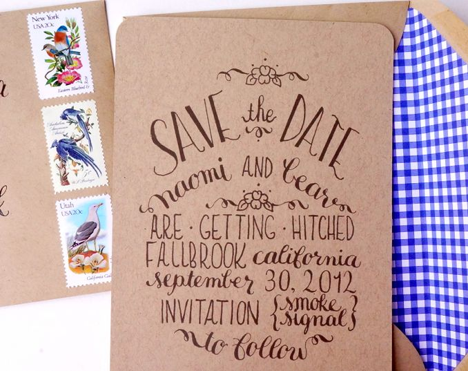 Calligraphy Save the Dates with kraft paper and blue envelope liners via Oh So Beautiful Paper - LOVE THIS!