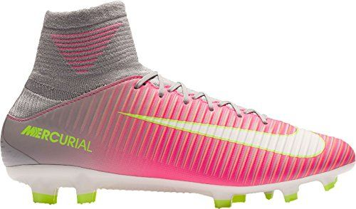 Nike Women's Mercurial Veloce III DF Hyper-Pink Soccer Cleats  The knit collar fits anatomically around your ankle for a sock-like sensation.  A durable, lightweight plate has a chevron cleat pattern designed to facilitate bursts of speed and braking power.  Textured speed ribs create friction for ball control in all conditions.  Lightweight, minimal microfiber material conforms to the shape of your foot.  Firm-ground (FG) cleats for use on wet but rarely muddy short-grass fields