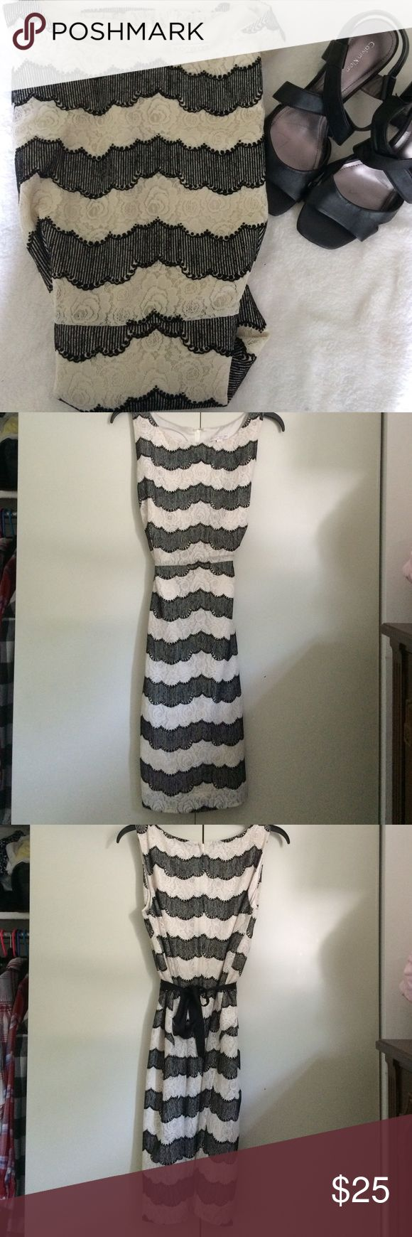 Eva Mendes for New York & Co dress Very comfy and super chic. Worn once to a baby shower while pregnant. Stretchy fabric. Has ties on back so it can be worn even as a small or med. beautiful lace detail. New York & Company Dresses Midi