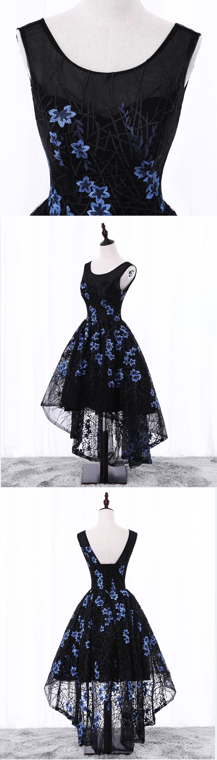 Black lace high low embroidery prom dress, black party dress #prom #dress #promdress