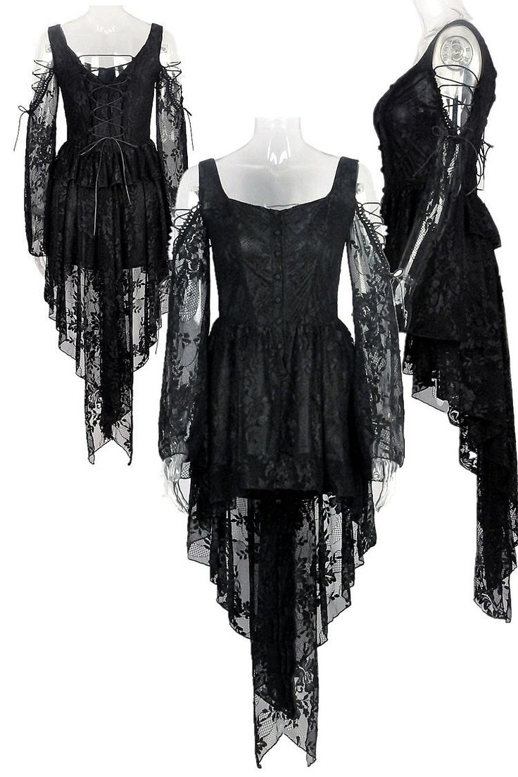 Dark In Love Gothic Ghost Dovetail Lace Dress with Button Front Detail - Black