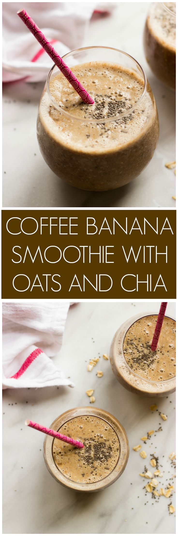 Coffee Banana Smoothie with Oats and Chia - coffee and a smoothie in one! Made with healthy ingredients. | littlebroken.com @littlebroken