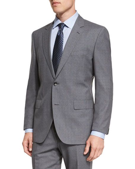 7f785e713 BOSS HUGO BOSS JOHNSTONS LENNON MELANGE PLAID SLIM-FIT BASIC SUIT, GRAY.  #bosshugoboss #cloth #